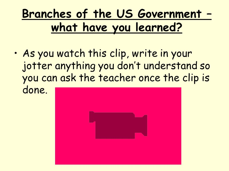 Branches of the US Government – what have you learned? As you watch this clip, write in your jotter anything you don't understand so you can ask the t