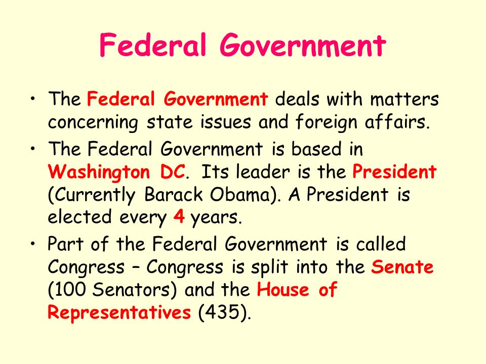 Federal Government The Federal Government deals with matters concerning state issues and foreign affairs. The Federal Government is based in Washingto