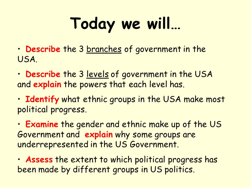 Today we will… Describe the 3 branches of government in the USA. Describe the 3 levels of government in the USA and explain the powers that each level