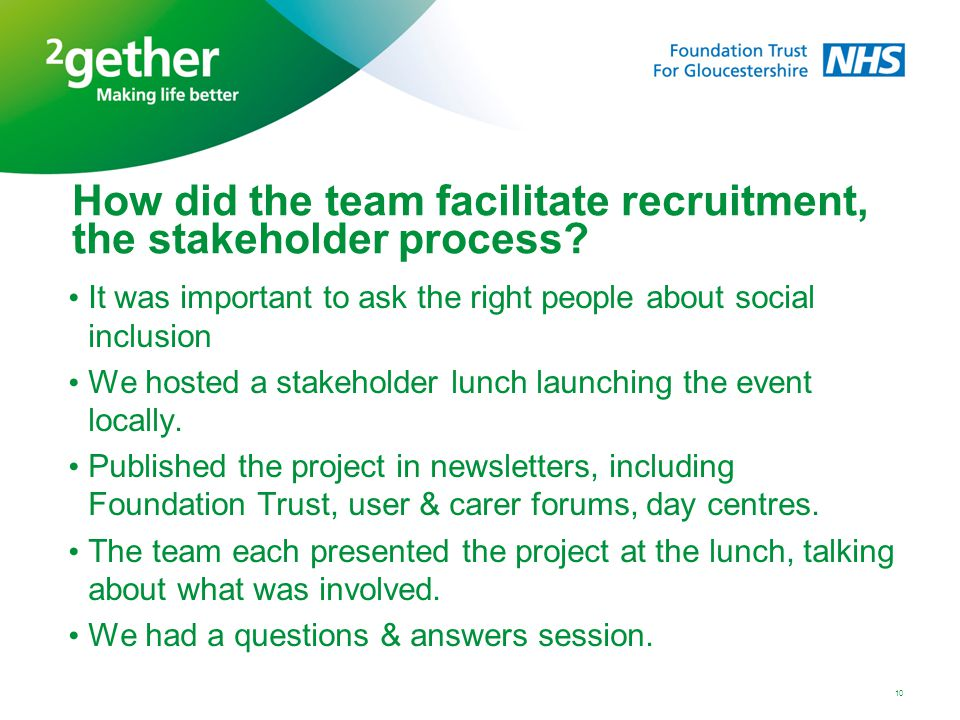 How did the team facilitate recruitment, the stakeholder process? It was important to ask the right people about social inclusion We hosted a stakehol