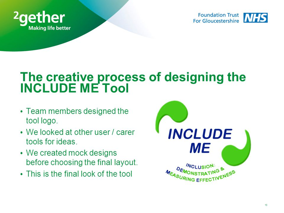 The creative process of designing the INCLUDE ME Tool Team members designed the tool logo. We looked at other user / carer tools for ideas. We created
