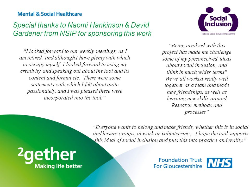 Special thanks to Naomi Hankinson & David Gardener from NSIP for sponsoring this work I looked forward to our weekly meetings, as I am retired, and although I have plenty with which to occupy myself, I looked forward to using my creativity and speaking out about the tool and its content and format etc.