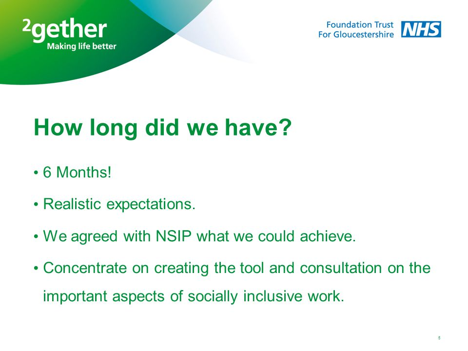 How long did we have? 6 Months! Realistic expectations. We agreed with NSIP what we could achieve. Concentrate on creating the tool and consultation o