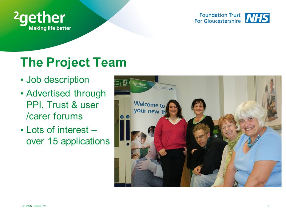 How were the project team supported.Link to support systems within the Trust to the project team.