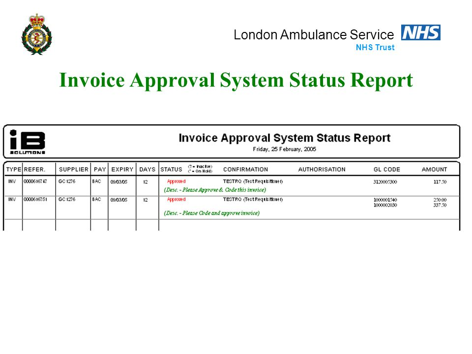 London Ambulance Service NHS Trust Invoice Approval System Status Report