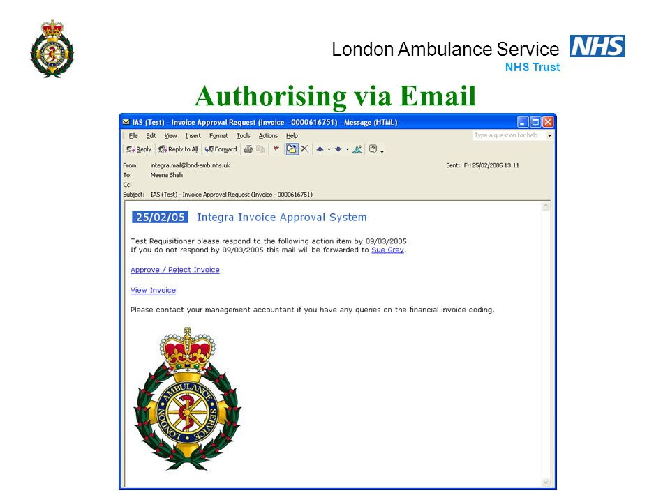 London Ambulance Service NHS Trust Authorising via Email