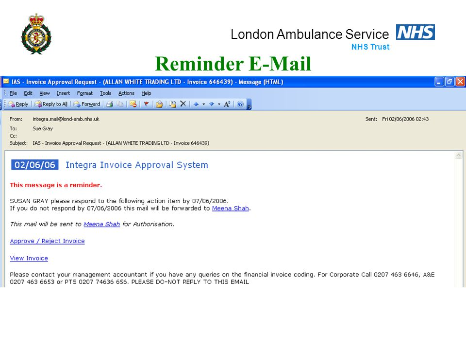 London Ambulance Service NHS Trust Reminder E-Mail
