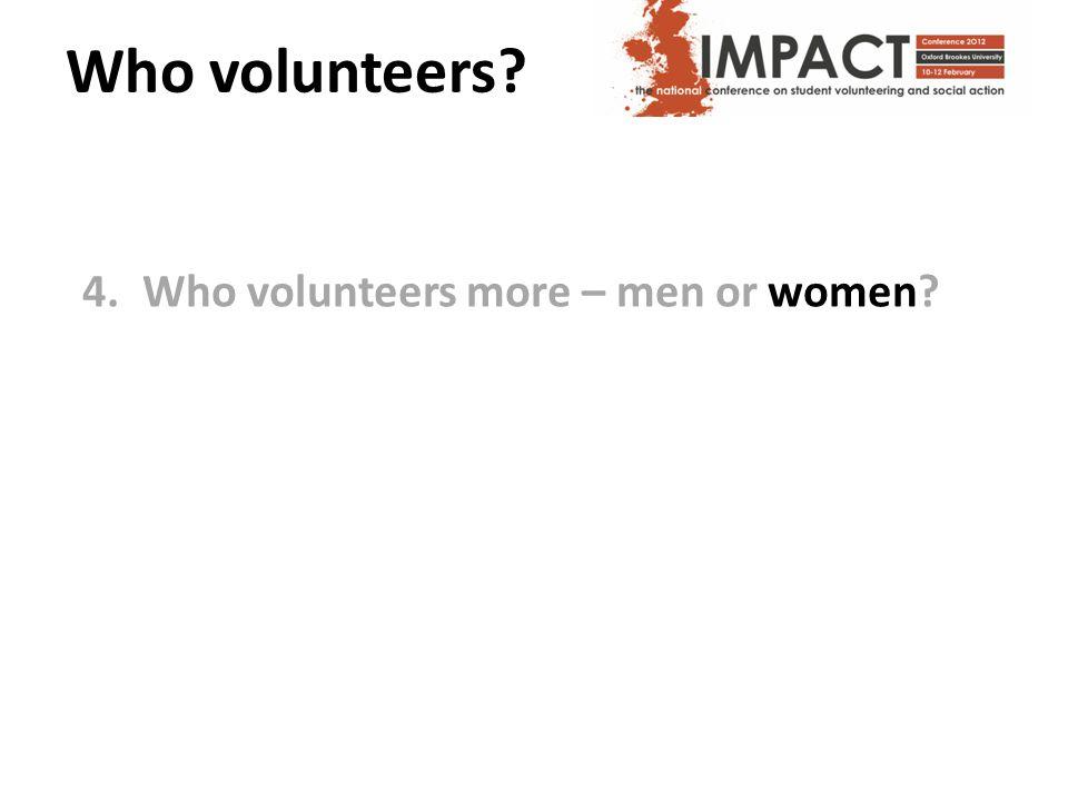 Who volunteers? 4.Who volunteers more – men or women?