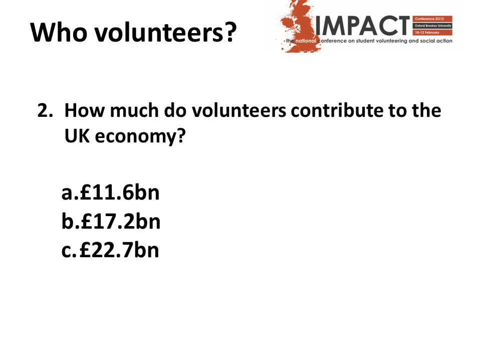 Who volunteers. 2.How much do volunteers contribute to the UK economy.
