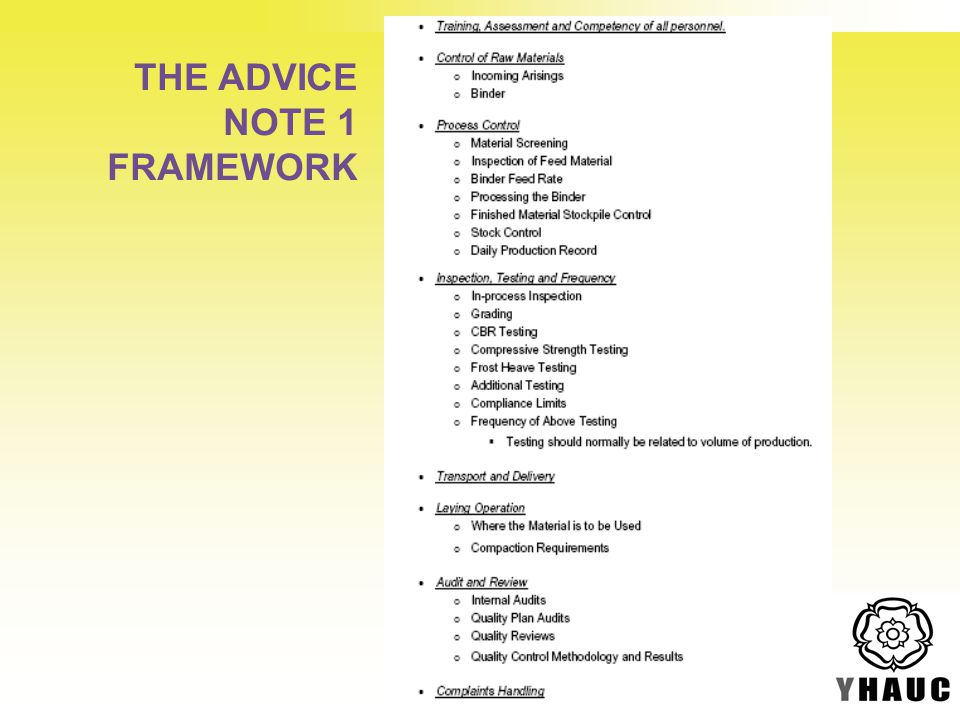 THE ADVICE NOTE 1 FRAMEWORK