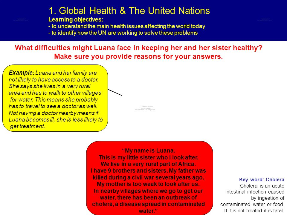 1. Global Health & The United Nations Learning objectives: - to understand the main health issues affecting the world today - to identify how the UN a
