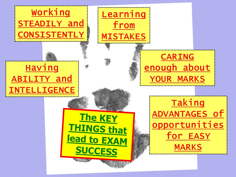 Having ABILITY and INTELLIGENCE Working STEADILY and CONSISTENTLY Learning from MISTAKES CARING enough about YOUR MARKS Taking ADVANTAGES of opportunities for EASY MARKS The KEY THINGS that lead to EXAM SUCCESS
