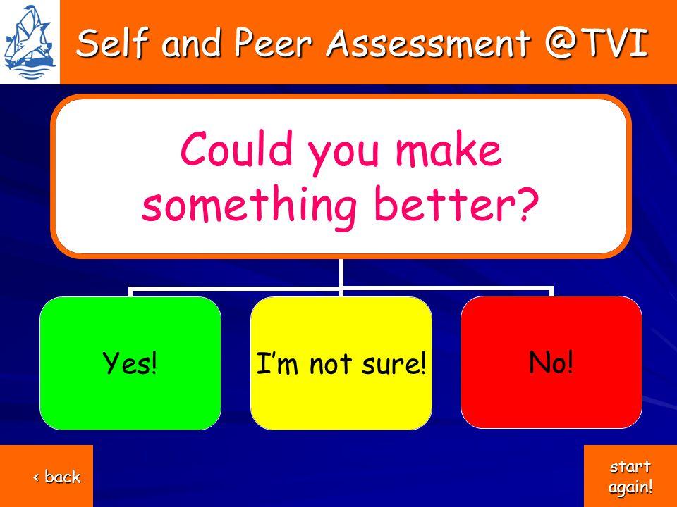 Self and Peer Assessment @TVI Self and Peer Assessment @TVI Could you make something better.