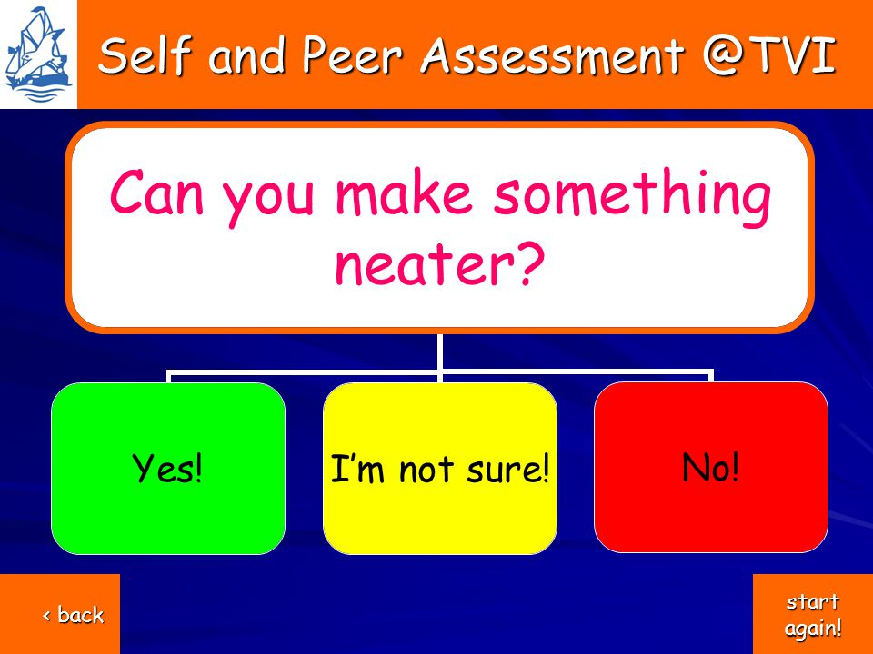 Self and Peer Assessment @TVI Self and Peer Assessment @TVI Can you make something neater.