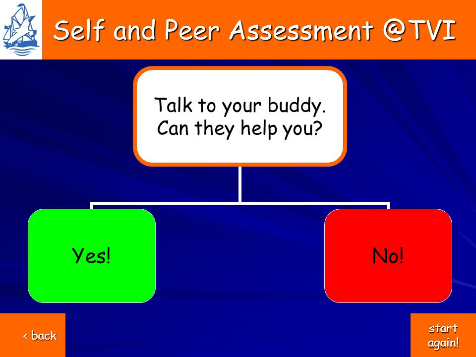 Self and Peer Assessment @TVI Self and Peer Assessment @TVI Talk to your buddy.