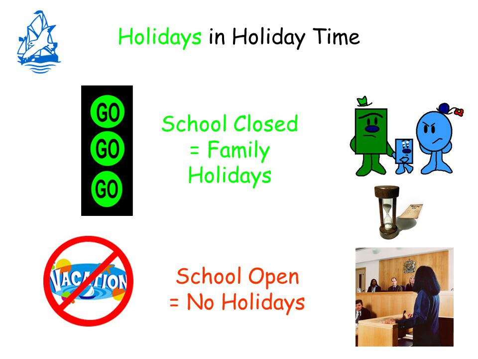 Holidays in Holiday Time School Closed = Family Holidays School Open = No Holidays