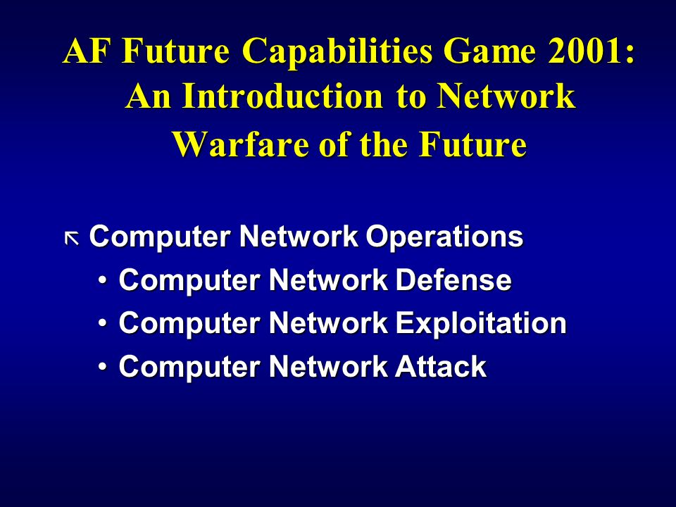 AF Future Capabilities Game 2001: An Introduction to Network Warfare of the Future ã Computer Network Operations Computer Network DefenseComputer Network Defense Computer Network ExploitationComputer Network Exploitation Computer Network AttackComputer Network Attack