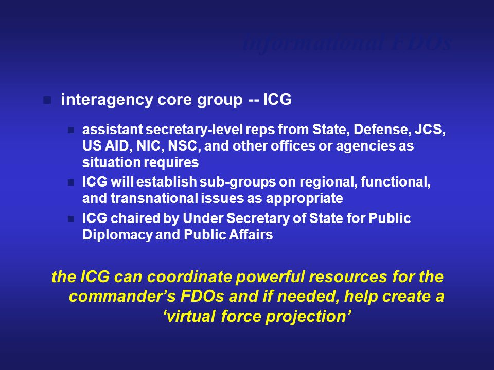 interagency core group -- ICG assistant secretary-level reps from State, Defense, JCS, US AID, NIC, NSC, and other offices or agencies as situation re
