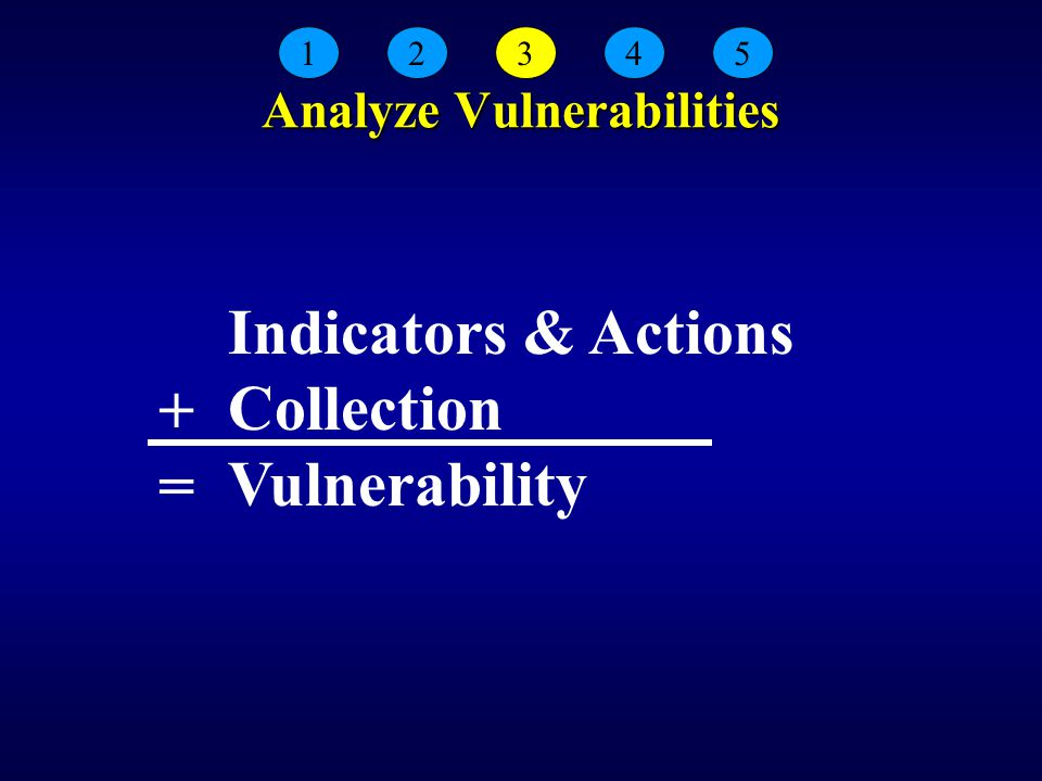 Analyze Vulnerabilities Indicators & Actions Collection Vulnerability 12345 +=+=