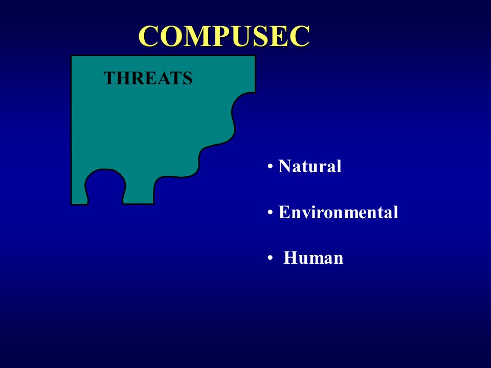 THREATS Natural Environmental Human COMPUSEC