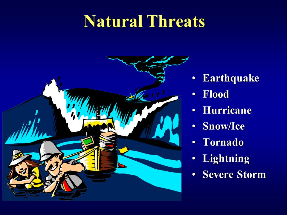 EarthquakeEarthquake FloodFlood HurricaneHurricane Snow/IceSnow/Ice TornadoTornado LightningLightning Severe StormSevere Storm Natural Threats
