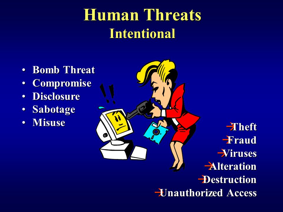 Bomb ThreatBomb Threat CompromiseCompromise DisclosureDisclosure SabotageSabotage MisuseMisuse  Theft  Fraud  Viruses  Alteration  Destruction  Unauthorized Access Human Threats Intentional