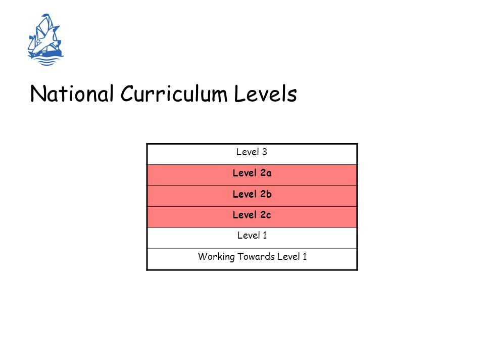National Curriculum Levels Level 3 Level 2a Level 2b Level 2c Level 1 Working Towards Level 1