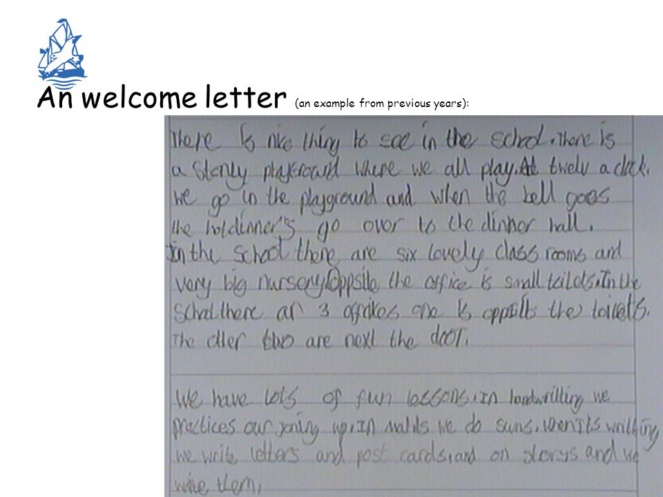 An welcome letter (an example from previous years):