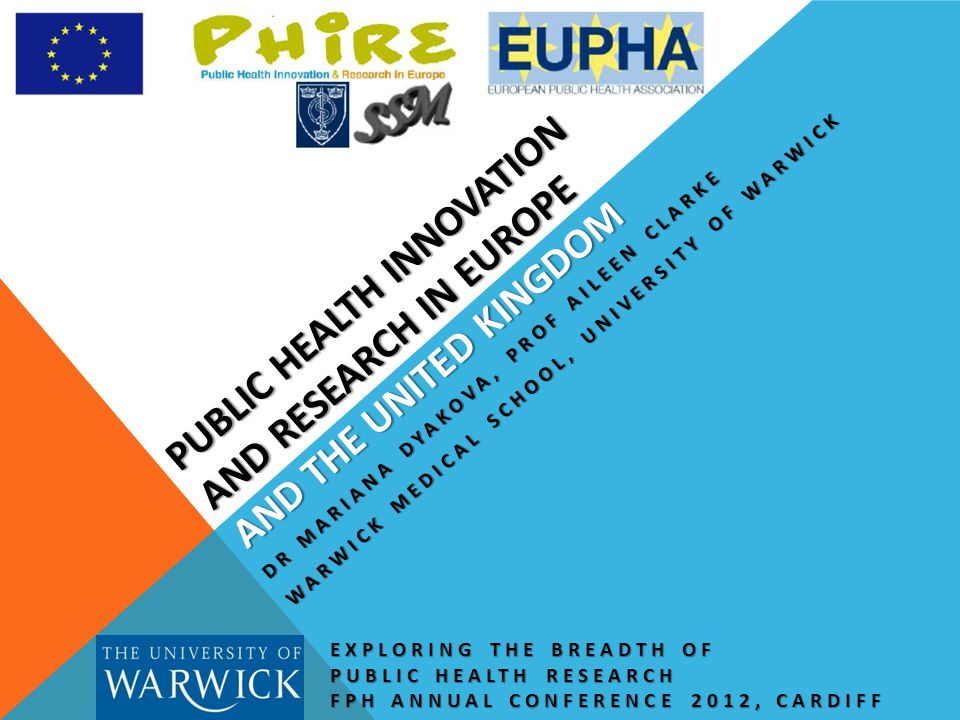 PUBLIC HEALTH INNOVATION AND RESEARCH IN EUROPE AND THE UNITED KINGDOM EXPLORING THE BREADTH OF PUBLIC HEALTH RESEARCH FPH ANNUAL CONFERENCE 2012, CARDIFF DR MARIANA DYAKOVA, PROF AILEEN CLARKE WARWICK MEDICAL SCHOOL, UNIVERSITY OF WARWICK