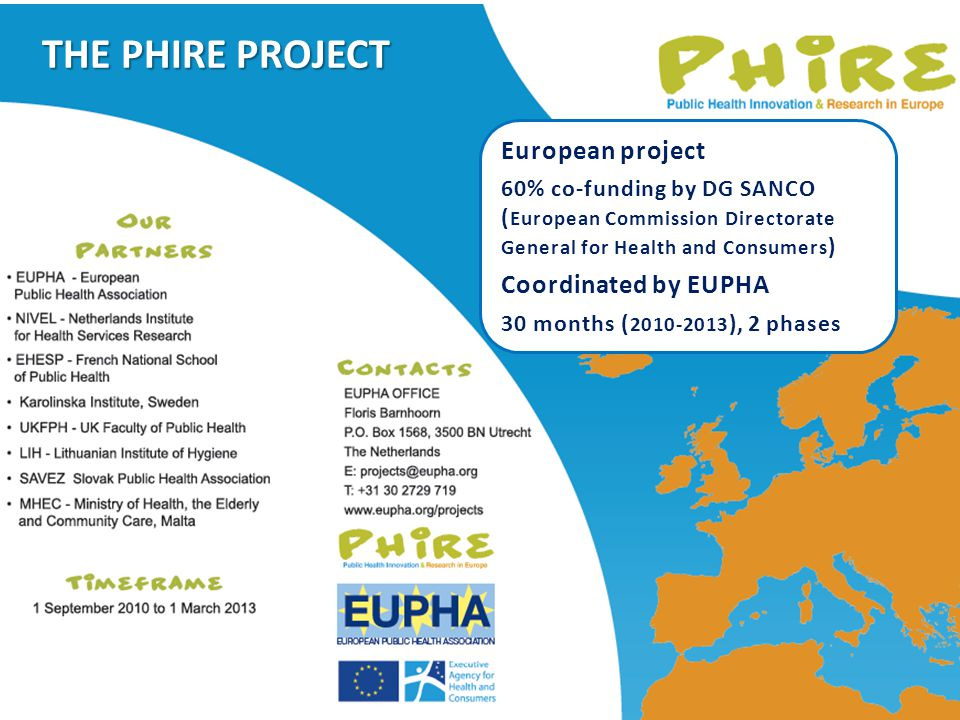 European project 60% co-funding by DG SANCO ( European Commission Directorate General for Health and Consumers ) Coordinated by EUPHA 30 months ( 2010-2013 ), 2 phases THE PHIRE PROJECT