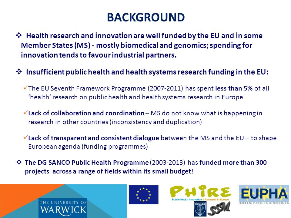 Public Health Research Communication GENERAL AIM  To communicate PH research value & impact  To enhance two-way communication between the MS and the EU in PH research (agenda & funding)  To increase communication (& translation) within MS - between PH research, policy and practice  To promote communication among PH researchers – nationally & on EU level