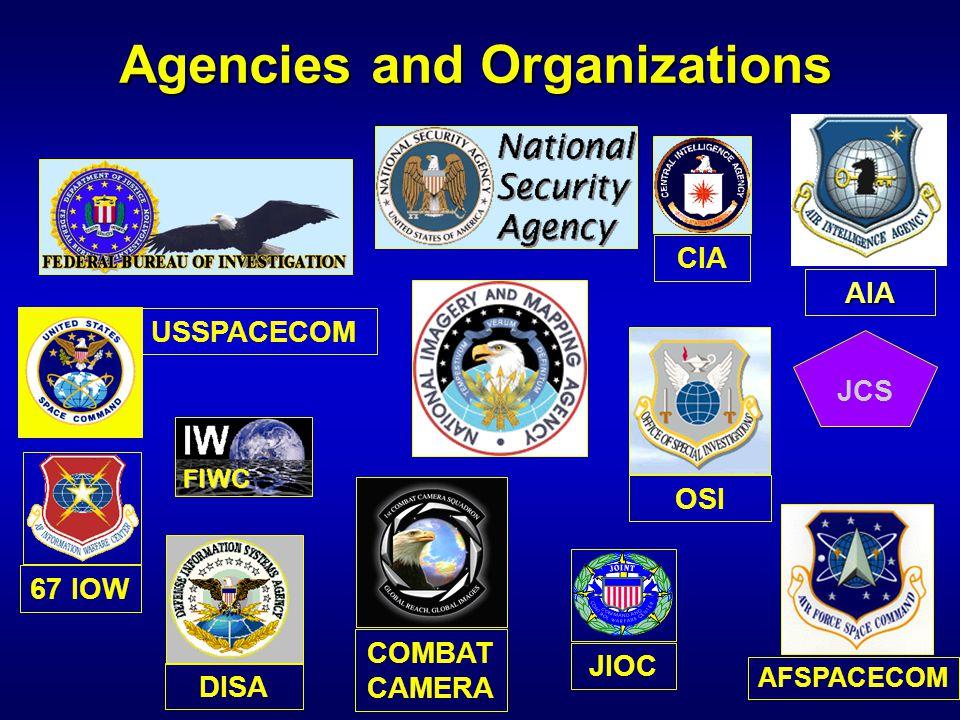CIA JIOC USSPACECOM JCS AFSPACECOM Agencies and Organizations COMBAT CAMERA DISA OSI 67 IOW AIA