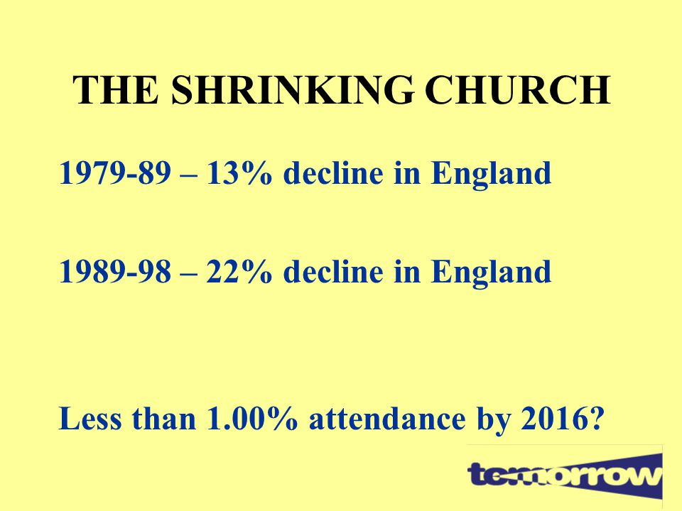 THE SHRINKING CHURCH 1979-89 – 13% decline in England 1989-98 – 22% decline in England Less than 1.00% attendance by 2016?