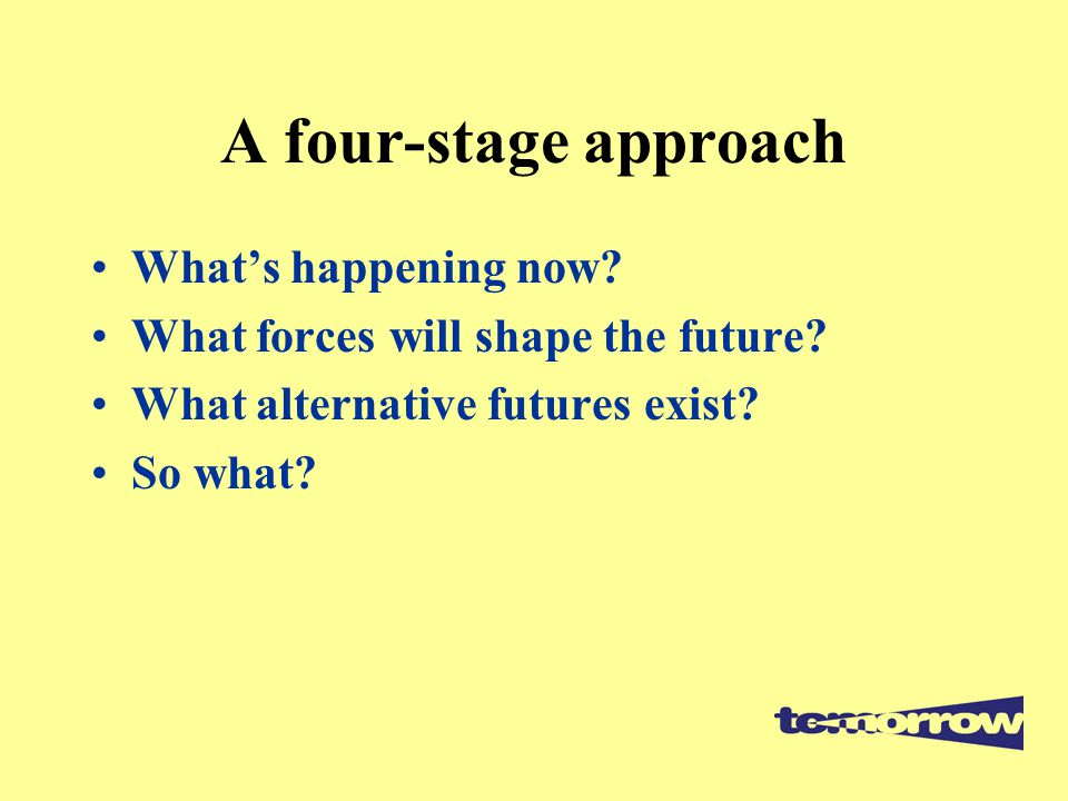 A four-stage approach What's happening now? What forces will shape the future? What alternative futures exist? So what?