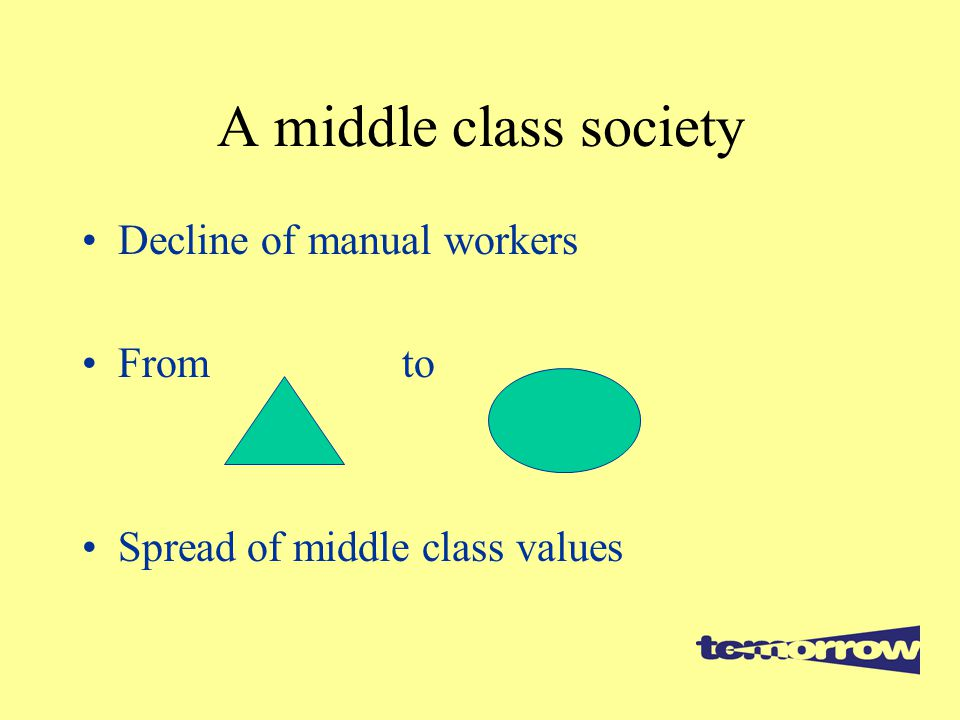 A middle class society Decline of manual workers From to Spread of middle class values