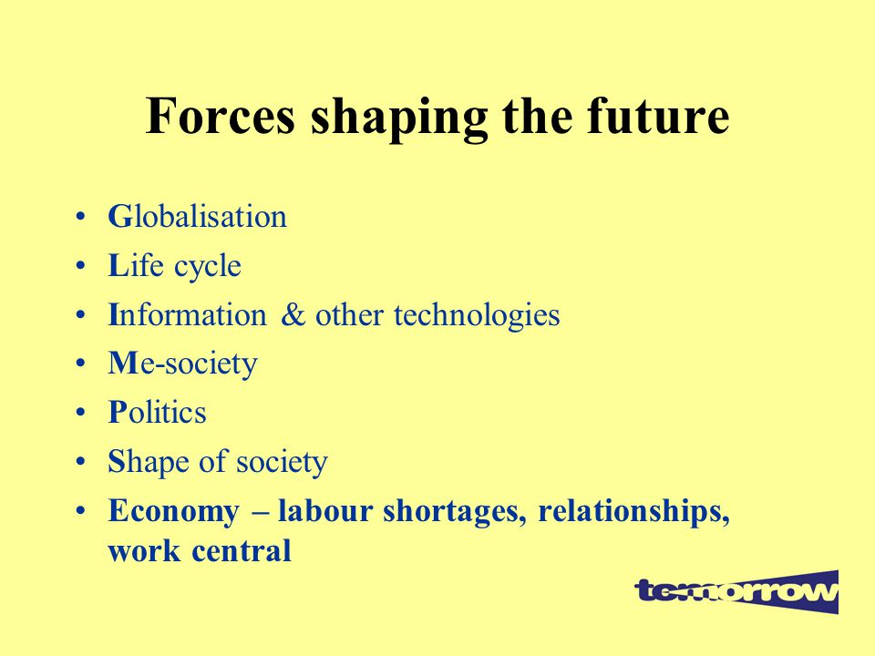 Forces shaping the future Globalisation Life cycle Information & other technologies Me-society Politics Shape of society Economy – labour shortages, relationships, work central