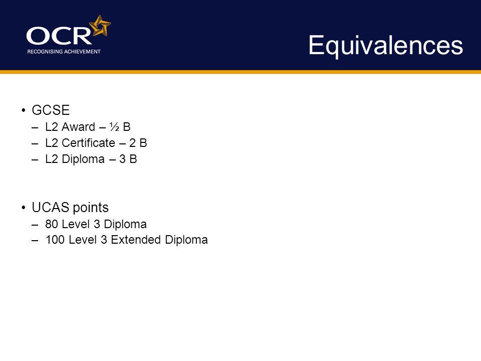 Equivalences GCSE –L2 Award – ½ B –L2 Certificate – 2 B –L2 Diploma – 3 B UCAS points –80 Level 3 Diploma –100 Level 3 Extended Diploma