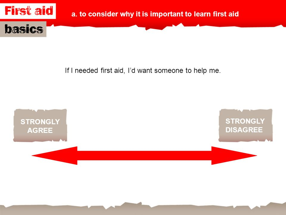 STRONGLY AGREE STRONGLY DISAGREE If I needed first aid, I'd want someone to help me. a. to consider why it is important to learn first aid