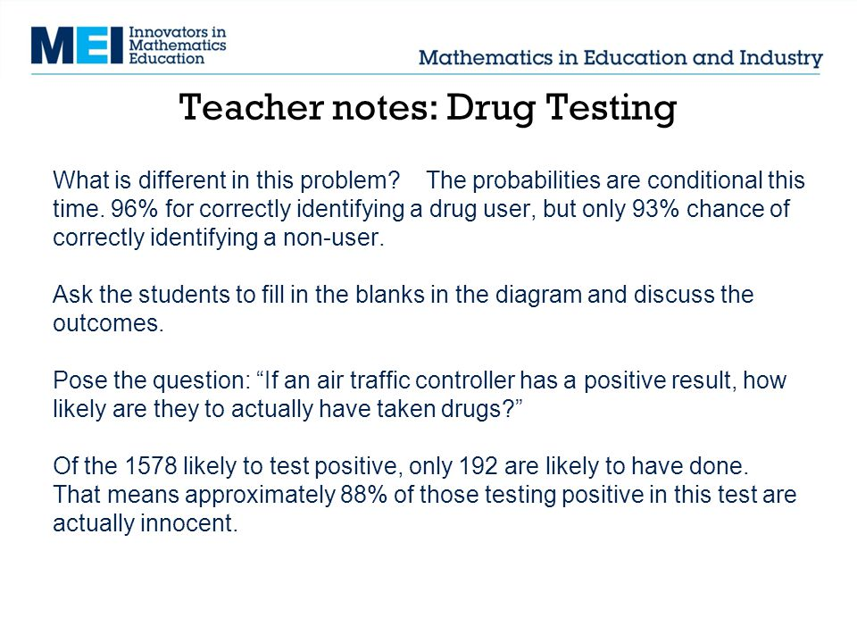 Teacher notes: Drug Testing What is different in this problem.