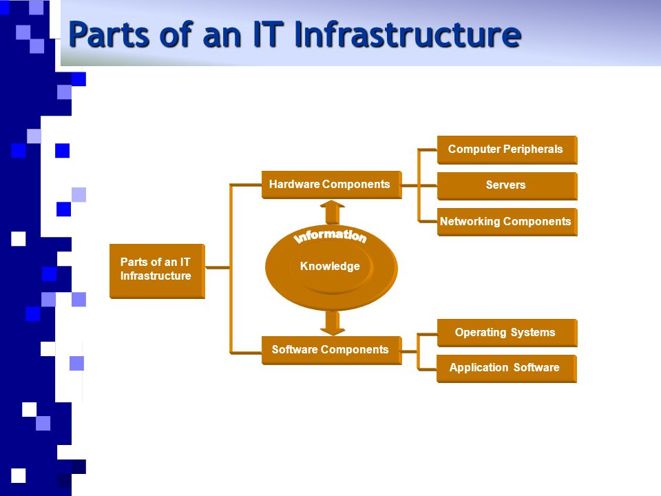 Parts of an IT Infrastructure Hardware Components Software Components Servers Computer Peripherals Networking Components Knowledge Application Software Operating Systems