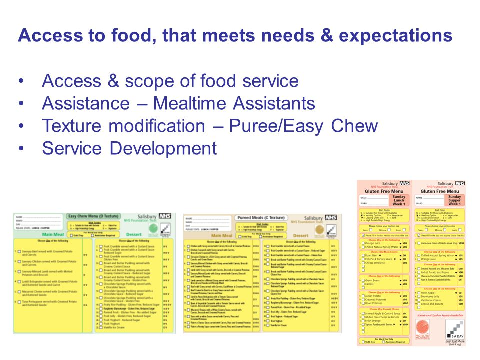 Access to food, that meets needs & expectations Access & scope of food service Assistance – Mealtime Assistants Texture modification – Puree/Easy Chew Service Development