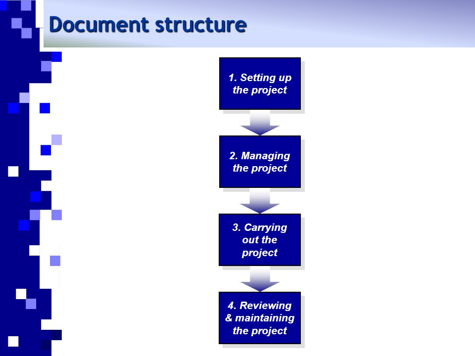 Document structure 1. Setting up the project 4. Reviewing & maintaining the project 3. Carrying out the project 2. Managing the project