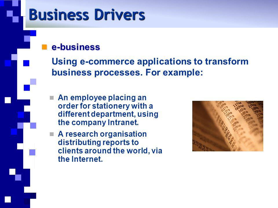 e-business e-business Using e-commerce applications to transform business processes.