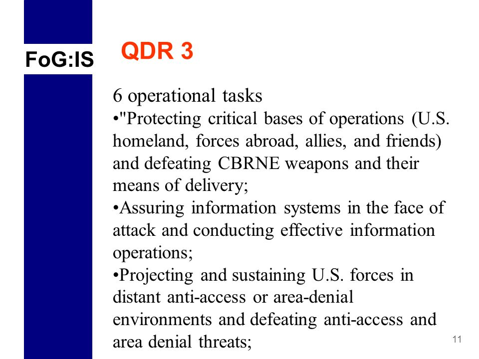 FoG:IS 11 QDR 3 6 operational tasks Protecting critical bases of operations (U.S.