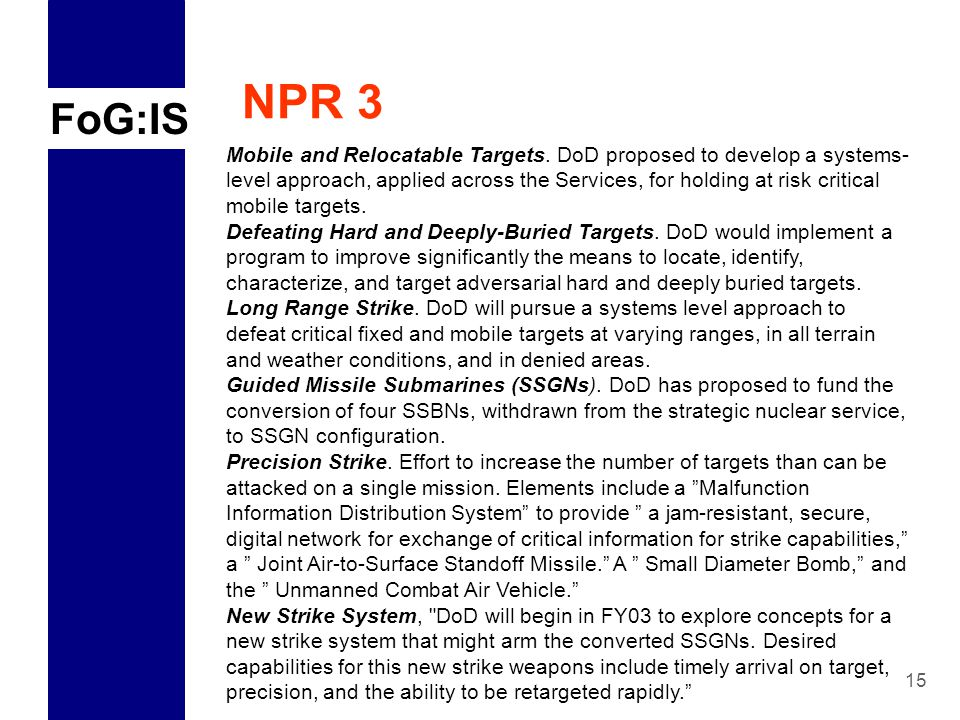 FoG:IS 15 NPR 3 Mobile and Relocatable Targets.