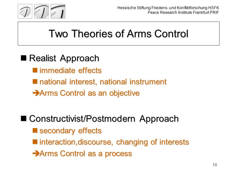 Hessische Stiftung Friedens- und Konfliktforschung HSFK Peace Research Institute Frankfurt PRIF 10 Two Theories of Arms Control Realist Approach Realist Approach immediate effects immediate effects national interest, national instrument national interest, national instrument  Arms Control as an objective Constructivist/Postmodern Approach Constructivist/Postmodern Approach secondary effects secondary effects interaction,discourse, changing of interests interaction,discourse, changing of interests  Arms Control as a process