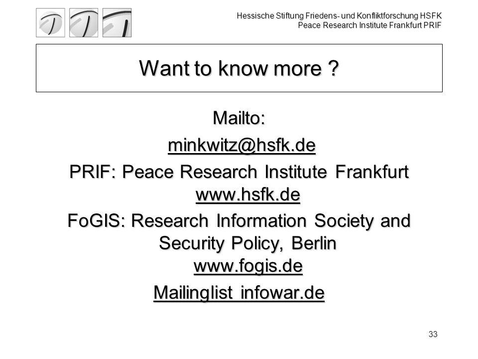 Hessische Stiftung Friedens- und Konfliktforschung HSFK Peace Research Institute Frankfurt PRIF 33 Want to know more .