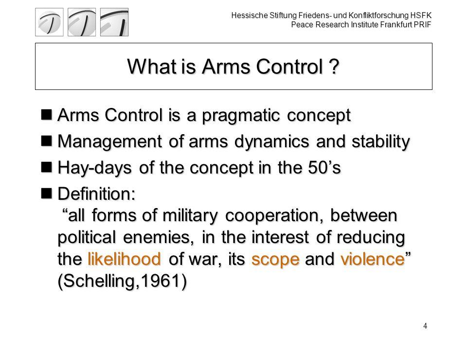 Hessische Stiftung Friedens- und Konfliktforschung HSFK Peace Research Institute Frankfurt PRIF 4 What is Arms Control .