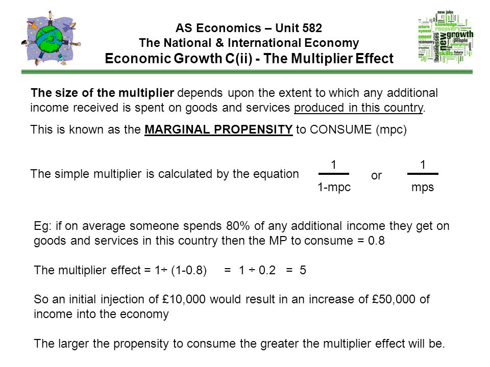 AS Economics – Unit 582 The National & International Economy Economic Growth C(ii) - The Multiplier Effect The size of the multiplier depends upon the extent to which any additional income received is spent on goods and services produced in this country.
