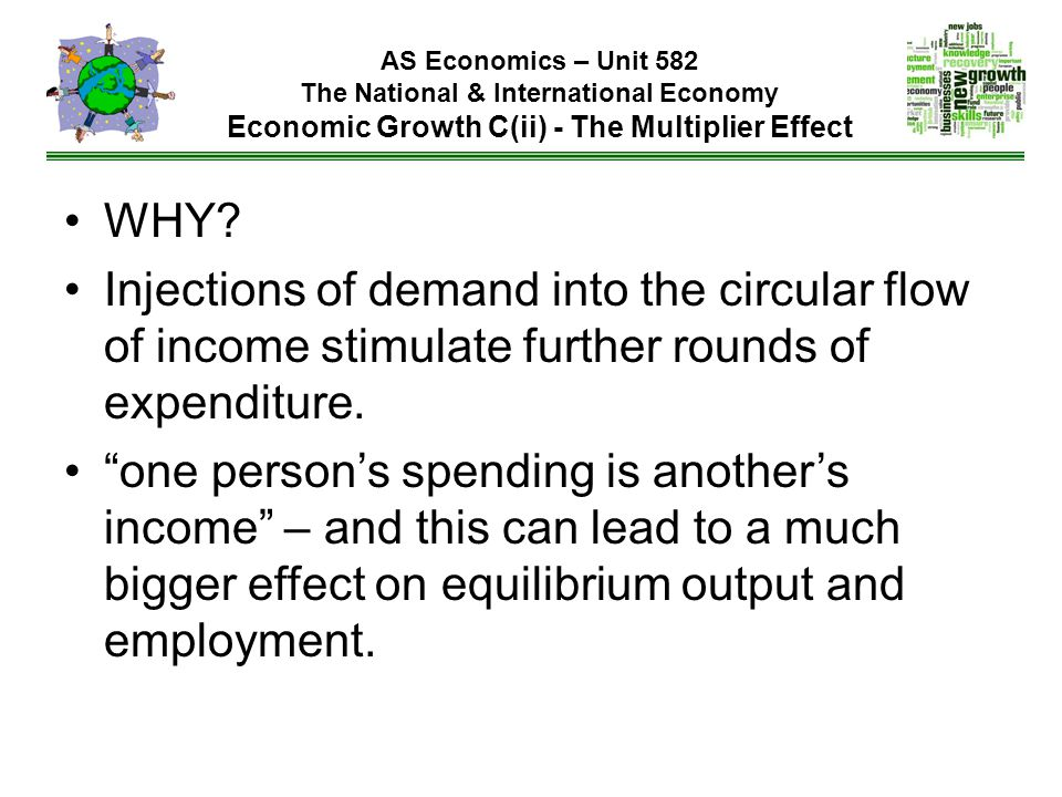 AS Economics – Unit 582 The National & International Economy Economic Growth C(ii) - The Multiplier Effect WHY? Injections of demand into the circular
